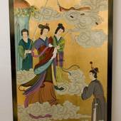 Chinese wall panel, Gold fairies & the bride, handpainted