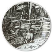 Bavaria, Plate with Hare by Bruno Liljefors in grey nuances