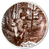 Bavaria, Plate with Hunter by Bruno Liljefors in brown nuances