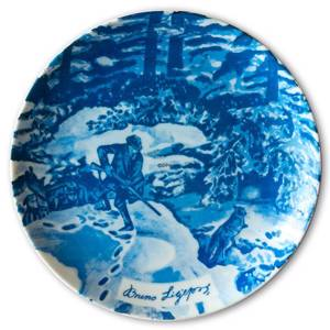 Bavaria, Plate with Hunter Hunting a fox by Bruno Liljefors in blue nuances | No. BA1002 | DPH Trading
