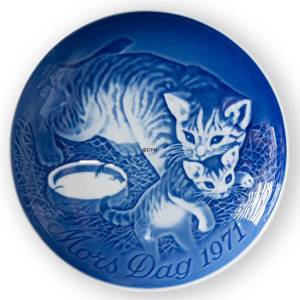 Cat with kittens 1971, Bing & Grondahl Mothers Day plate | Year 1971 | No. BM1971 | Alt. 1902671 | DPH Trading