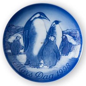 Penguin with Young Ones 1998, Bing & Grondahl Mothers Day plate | Year 1998 | No. BM1998 | Alt. 1902698 | DPH Trading