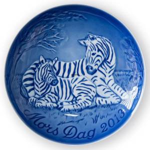 Zebra with foal 2013, Bing & Grondahl Mothers Day plate | Year 2013 | No. BM2013 | Alt. 1902713 | DPH Trading