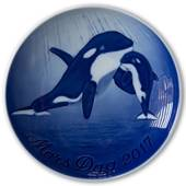 Orca with calf 2017, Bing & Grondahl Mother's Day plate