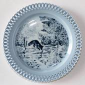 Bing & Grondahl, Plate, Animals in Twilight. Fox by fence