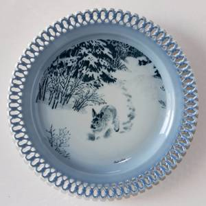 Bing & Grondahl, Plate, Animals in Twilight. Hare in the forest