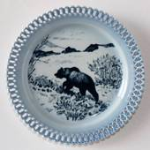 Bing & Grondahl, Plate, Animals in Twilight. Wandering bear