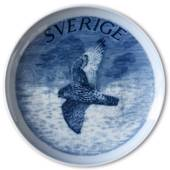 Swedish Stamp plate with Falcon, Sweden, drawing in blue, Bing & Grondahl