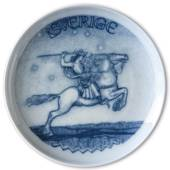 Swedish Stamp plate with Rider, Sweden, drawing in blue, Bing & Grondahl