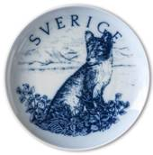 Swedish Stamp plate, Sweden, drawing in blue, Bing & Grondahl