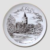 Vordingborg plate, drawing in brown, Bing & Grondahl