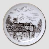 Herlufsholm plate, drawing in brown, Bing & Grondahl