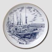 Hvide Sande plate, drawing in blue, Bing & Grondahl