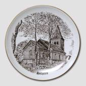 Holsted Church plate, drawing in brown, Bing & Grondahl
