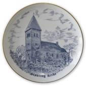 Stovring Church plate, drawing in blue, Bing & Grondahl