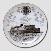 The Ferry in Korsor plate, drawing in brown, Bing & Grondahl