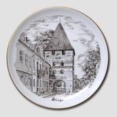 Stege Church plate, drawing in brown, Bing & Grondahl