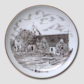 Hjoerring Church plate, drawing in brown, Bing & Grondahl