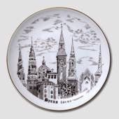 Plate with Towers of Copenhagen, drawing in brown, Bing & Grondahl