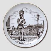 Plate with The Royal Life Guard at Amalienborg, drawing in brown, Bing & Gr...