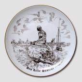 The Little Mermaid plate, drawing in brown, Bing & Grondahl