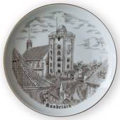 The Round Tower in Copenhagen Plate, drawing in brown, Bing & Grondahl
