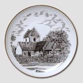 Odder Church plate, drawing in brown, Bing & Grondahl
