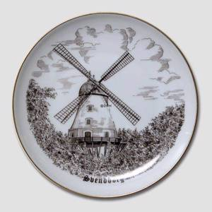 Plate with Svendborg Mill , drawing in brown, Bing & Grondahl | No. BNR4101-619 | Alt. B.NR.695 | DPH Trading