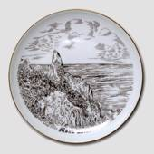 Bing & Grondahl plate, Moens Klint, drawing in brown
