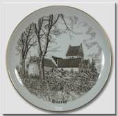 Haarby Church plate, drawing in brown, Bing & Grondahl