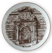 Part of Frederiksborg Castle - Hillerød plate, drawing in brown, Bing & Gro...