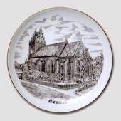 Bing & Grondahl Plate, Naestved Church, drawing in brown