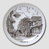 Bing & Grondahl Plate, Faaborg, drawing in brown