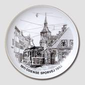 Bing & Grondahl Plate , Odense Tramways, drawing in brown