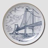 Bing & Grondahl Plate, The New Little Belt Bridge, Middelfart, drawing in b...