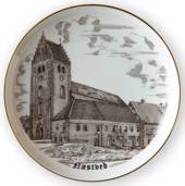 Bing & Grondahl Plate, Sct. Peters Church, Naestved, drawing in brown