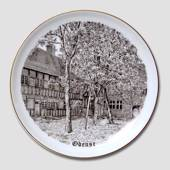 Bing & Grondahl Plate, Odense, drawing in brown