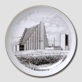 Bing & Grondahl Plate, Nyvang Church, Kalundborg, drawing in brown