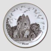 Bing & Grondahl Plate, Fredens Church Odense, drawing in brown