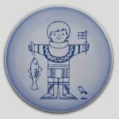 Plate with boy with fish, Bing & Grondahl