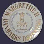 Memorial plate, Margrethe II, January 14th, 1972, God's help, the love of t...