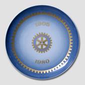 1905-1980 Memorial plate, Rotary International 75 år, Bing & Grondahl