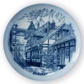 Plate Poul Mollers House, drawing in blue, Bing & Grondahl