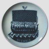 Swedish Stamp plate with viking ship, drawing in blue, Bing & Grondahl