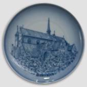 Plate with Haderslev church, drawing in blue, Bing & Grondahl