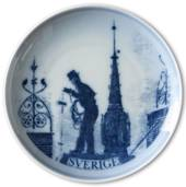 Swedish Stamp plate with chimney sweep, Sweden, drawing in blue, Bing & Gro...