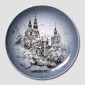 Plate with Rosenborg Castle, drawing in blue, Bing & Grondahl