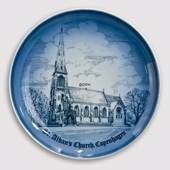 Plate, St. Albans Church in Copenhagen, drawing in blue, Bing & Grondahl