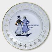 Plate with danish Folk Dancers Ringkøbing Amt, Bing & Grondahl