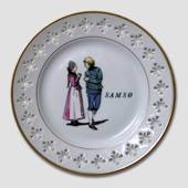 Plate with danish Folk Dancers Samsoe, Bing & Grondahl